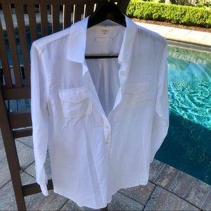 J Crew classic white cotton tunic long sleeve